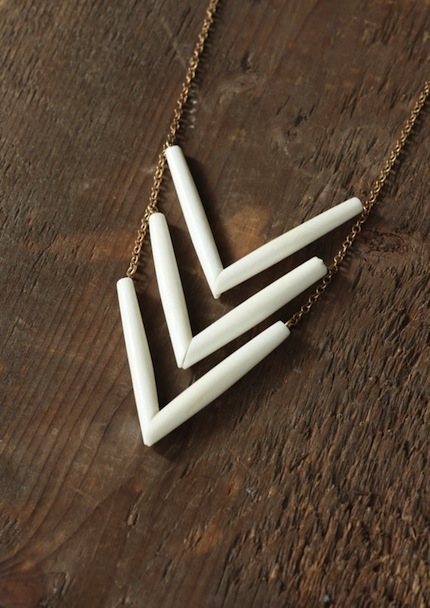 White Buffalo - Tribal Frontier Chevron Necklace by Prairieoats