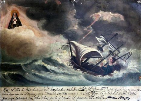 On 2 March 1840, Doña Gertrudis Castañeda, having set sail, was caught in a furious storm at sea and in such a terrible predicament she invoked the Virgin of Soledad of Santa Cruz and in finding safety she dedicates this retablo