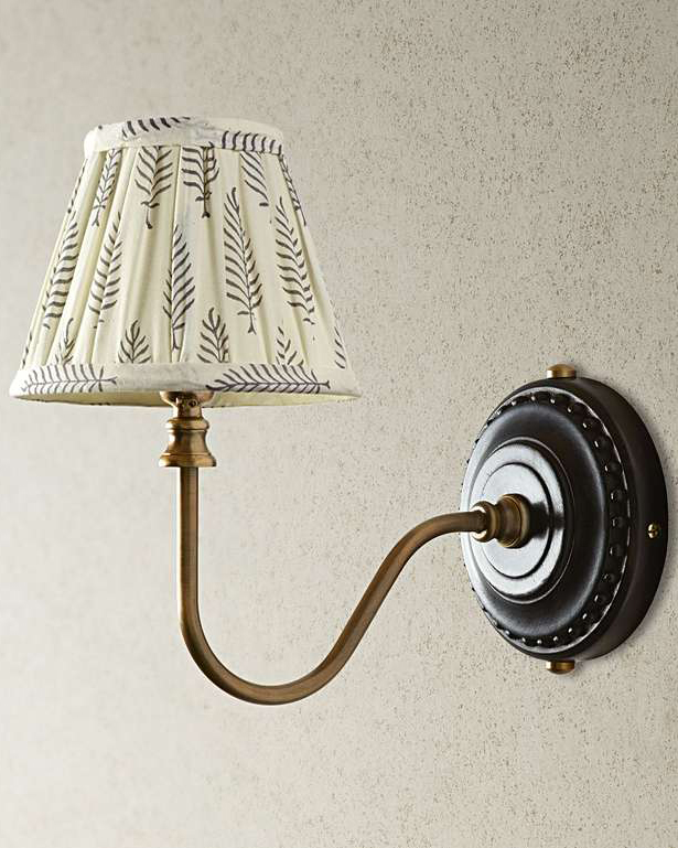 16cm empire gathered lampshade in grey ferns block printed cotton with drake wall fitting in wood and brass Pooky