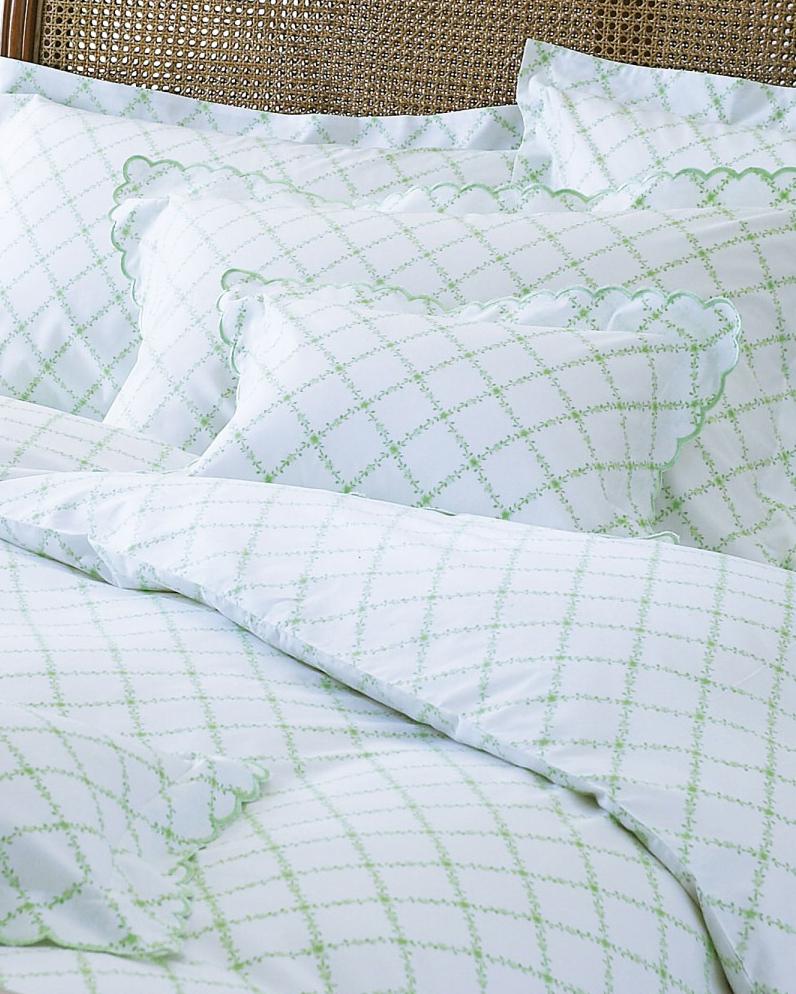 Green Mirabelle Scalloped Bedding from £23.30 Cologne and Cotton